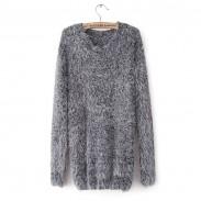New Simple Style Hippocampal Lantern Sleeve Sweater &Cardigan