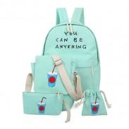 Corea fresca impresión letras mochila mochila bolsa de la escuela cuatro set bolsa de viaje
