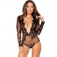 Encaje sexy unido manga larga V tentación negro flor mujeres íntima lencería