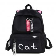Lindo gatito grande oreja decoración gato letra color puro estudiante bolsa lienzo mochila escolar