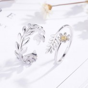 Romántica Dulce Plata Hojas Rama Pluma Flor Apertura Pareja Anillos