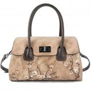 Retro Unique Original 3D Plum Cowhide Shoulder Bag Flower Handbag