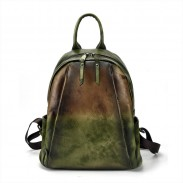 Retro Pure Color Vintage Student Backpack Brush Gradient School Backpack