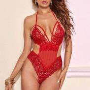 Pijamas de honda hueca de encaje rojo sexy Ropa interior íntima combinada para niñas