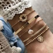 Cadena de cuentas de moda Hojas de cristal Conjunto de 5 piezas Pulsera abierta