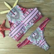 Delantal Folk Impreso Bikini Conjunto Traje de baño Halter Traje de baño Traje de baño