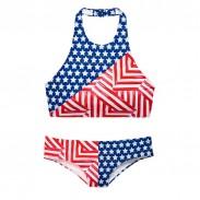 Nueva bandera americana Bikini Sports Bikini Set Swimsuit USA Flag traje de baño traje de baño