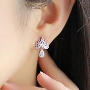 Brillantes Pendientes de Corona Joyas de Oído Salvaje Diamante Zircon Pendientes de Gota Espárragos