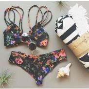 Traje de baño atractivo del traje de baño de las correas atractivas florales del halter de las correas atractivas