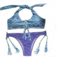 Traje de baño Triangular borlas Halter Bikini Traje de baño Traje de baño