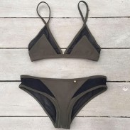 Puro Cabestro Sexy Malla Bikini Conjunto Traje de baño Trajes de baño Traje de baño