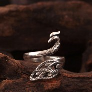 Folk Style Peacock Open Ring Original Anillo Phoenix de plata