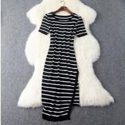 Vestido de fiesta y fiesta de rayas blancas y negras irregulares nuevas de mujer