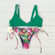 Traje de baño de verano bikini traje de baño de Split floral fresca pequeña impresión