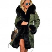 Chaqueta con capucha y capucha de invierno con cuello en V