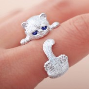 Retro Solid Cute Crystal Blue Eyes Cat Circulai Ring Cat Around Finger Silver Open Ring