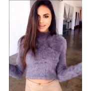 Suéter corto de felpa de manga larga cuello de mujer sexy 5 colores