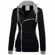 Moda empalme Turn-down collar CoatHoodies abrigo invierno cálido otoño chaqueta de las mujeres suéter