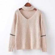 Suéter decorativo de las mangas de la cremallera de la gargantilla del V-cuello de las mujeres de la moda