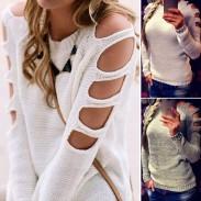 Las mujeres de moda mangas ahueca hacia fuera el suéter atractivo cuello redondo cuello suéter