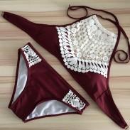 Traje de baño de verano Bikinis Halter de encaje y crochet para mujer