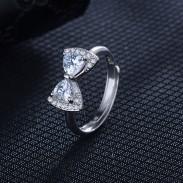 Anillo ajustable del arco de la manera Anillo ajustable del diamante del temperamento