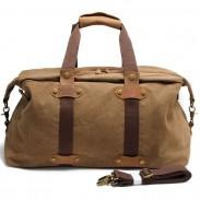 Bolsa de equipaje retro de gran capacidad que empalma la bolsa de hombro de la lona del bolso de la cremallera del cuero