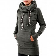 Casual Heaps Collar con capucha de manga larga de bolsillo de vuelta de lana bordada Jersey largo suéter de las mujeres