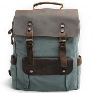 Bolso grueso retro grande del viaje de la lona que empaqueta la mochila que acampa del ordenador portátil del cuero