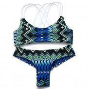 Nuevo traje de baño popular atractivo de los bikiníes de la honda de la impresión 3 del pavo real