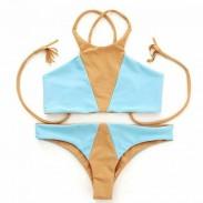 Bikini triángulo de color mixto sexy de moda con traje de baño dividido en 3 colores
