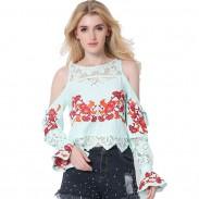 Camiseta de moda de mujer encaje empalme camisa suelta blusa bordado para mujer Tops