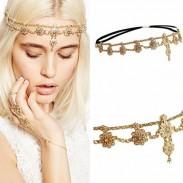 Diadema de borla elástica de moda Hair Chain Pearl Flor Accesorios para el cabello