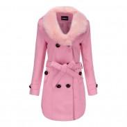 Elegante cuello de piel peluda doble botón cuello alto invierno cálido abrigo de mujer