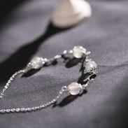 Unique Moonstone Branch Leaves Silver Romantic Women Bracelet