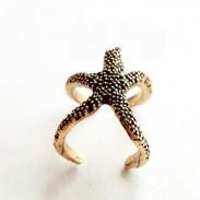 Vendimia Linda Estrella de mar Cuerda anillo