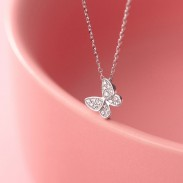 Lindo regalo romántico joyería animal Mini mariposa colgante collar de plata 925