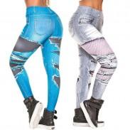 Vaqueros irregulares digitales de mezclilla de moda Leggings de mujer de cintura alta con estampado de estiramiento de cadera