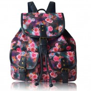 Mochila de impresión colorida de las flores coloridas que empalma PU dos bolsillos Floral Chicas Lona Mochila