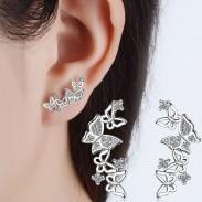 Pendientes de arco del corazón de las mujeres de la manera Diamante de la joyería larga Pendientes de la mariposa Studs