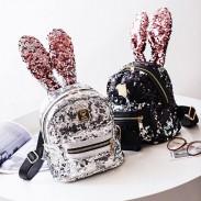 Lindo Conejo Oído Mini Bolsa de animales Brillante Lentejuelas Mochila de niña colorida