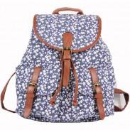 Flores de moda Elefante floral que imprime la correa nacional de la PU dos bolsillos Mochila escolar de lona