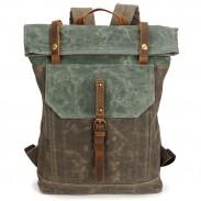 Hombre único retro lona hebilla de cuero a prueba de agua plaza flap mochila escolar grande mochila de viaje