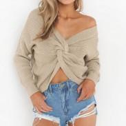 Suéter con cuello en V para mujer Suéter desnudo con nudo hueco Suéter sexy con cremallera y espalda descubierta