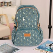 Cute Leisure Anchor Print Canvas Backpack