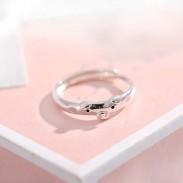 Anillo de plata abierto de regalo de amante de cerdo rosado divertido encantador