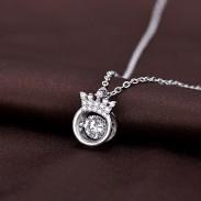 Corona única Novia Regalo Corona de mujer Collar de plata Anillo de diamantes Collar de plata de cristal hueco
