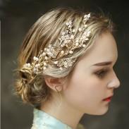 Rama de árbol fresco Hojas Perla Boda Banda para el cabello Accesorios para el cabello nupcial