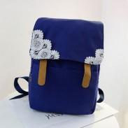 Los encajes de ganchillo dulce color puro mochilas de lona