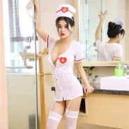 Enfermera sexy Cosplay Camisón corto Medias femeninas Lencería Uniforme Tentación inocente Lencería de enfermera